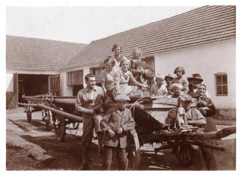 U Baštýřů na statku před sklízní sena (1933).